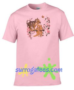 Cat Floral Light Pink Unisex adult T shirt