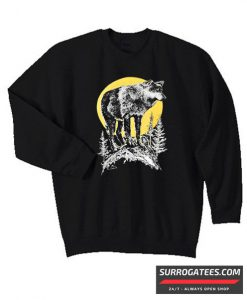 90s Wolf Full Moon matching sweatshirt