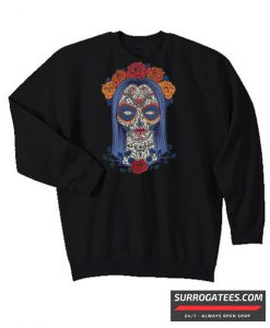 Woman Skull Face with Roses Flowers Matching Sweatshirt