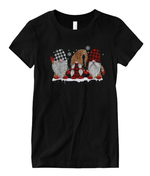 Three Gnomes In Leopard Printed Buffalo Plaid Matching Graphic T Shirt