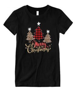 Women Leopard Plaid Christmas Tree Merry Christmas Matching Graphic T Shirt