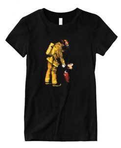 I love this Firefighter Fireman and Mickey Mouse Matching T-shirt